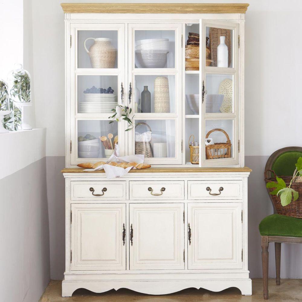 vaisselier en bois de paulownia cr me l 123 cm l ontine. Black Bedroom Furniture Sets. Home Design Ideas