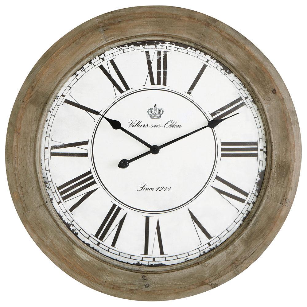 Horloge en bois blanchi d 74 cm chalet maisons du monde - Pendule murale maison du monde ...