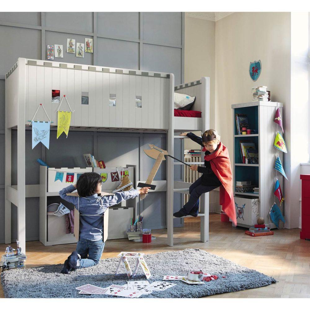 Lit mezzanine enfant gris chevalier maisons du monde - Lit mezzanine garcon ...