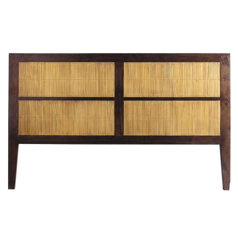 T te de lit en teck massif et bambou teint l 170 cm bamboo maisons du monde - Tete de lit metal 160 ...