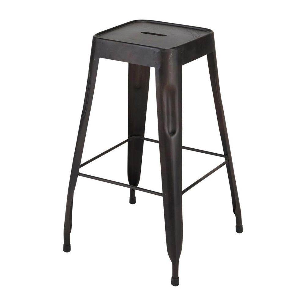 tabouret de bar indus en m tal noir jim maisons du monde. Black Bedroom Furniture Sets. Home Design Ideas