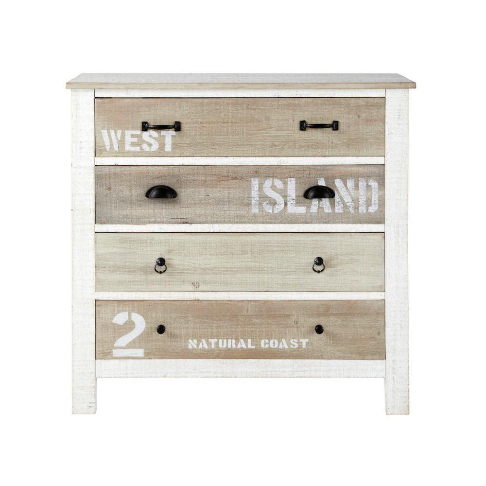 Commode en bois blanche l 90 cm noirmoutier maisons du monde - Commodes maisons du monde ...