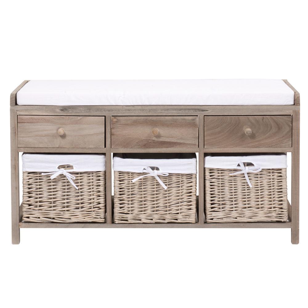 cool banc de rangement en platane et coton l cm eloise maisons du monde with petit meuble maison. Black Bedroom Furniture Sets. Home Design Ideas