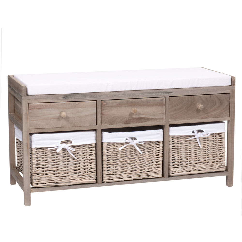 banc de rangement en bois et coton l 103 cm eloise maisons du monde. Black Bedroom Furniture Sets. Home Design Ideas