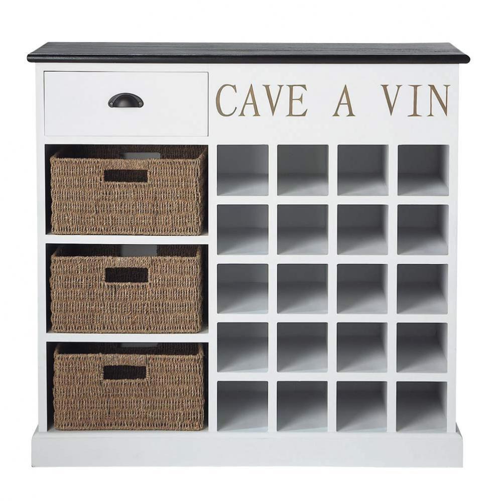 Meuble range bouteilles en bois blanche l 102 cm comptoir des pices maison - Cave a vin avec serrure ...