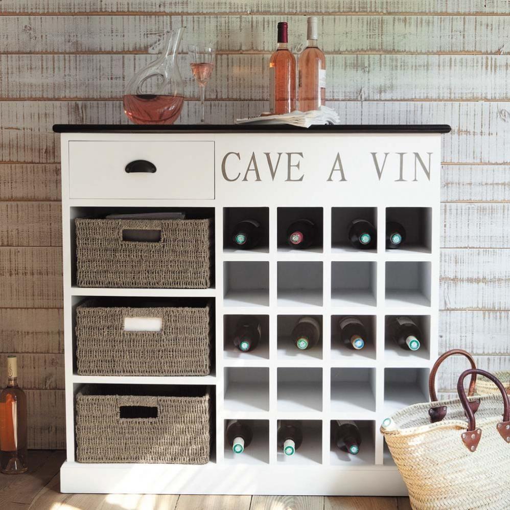 Meuble range bouteilles en bois blanche l 102 cm comptoir des pices maison - Meuble pour cave a vin ...
