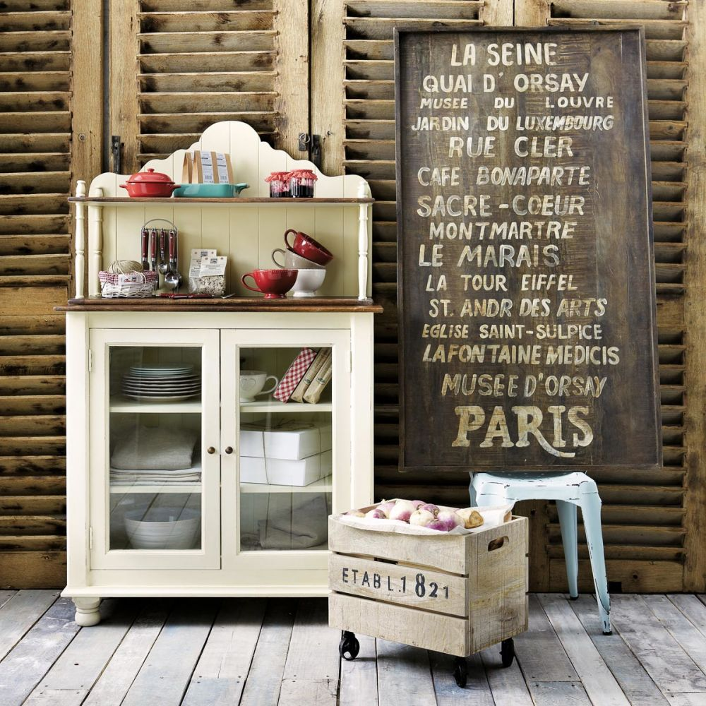 Caisse En Bois Maison Du Monde : Caisse ? roulettes en bois 32 x 46 cm RAILWAY Maisons du Monde