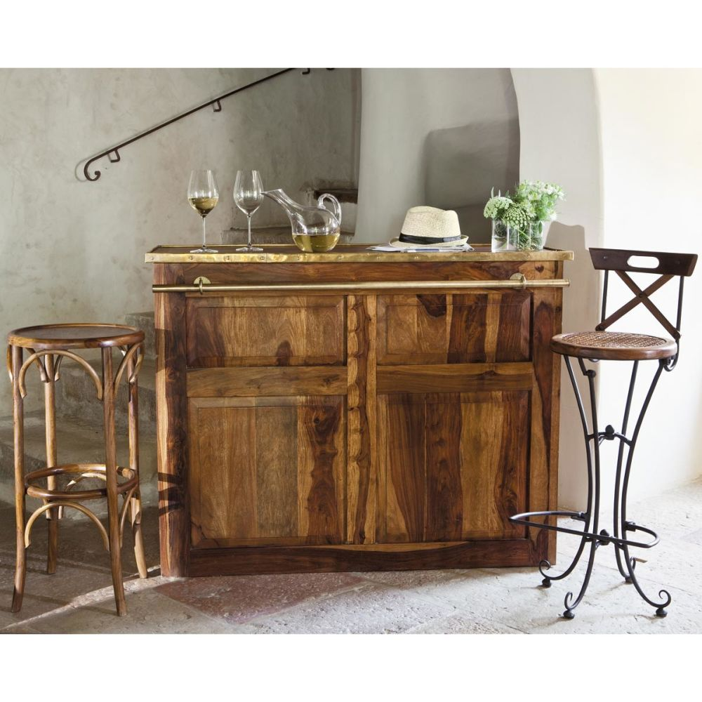 meuble de bar en bois de sheesham massif l 132 cm lub ron. Black Bedroom Furniture Sets. Home Design Ideas