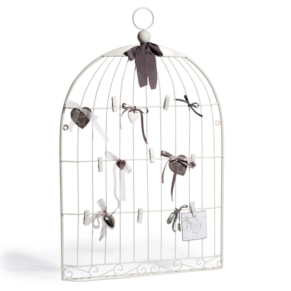P le m le cage oiseau blanc maisons du monde for Deco cage a oiseau