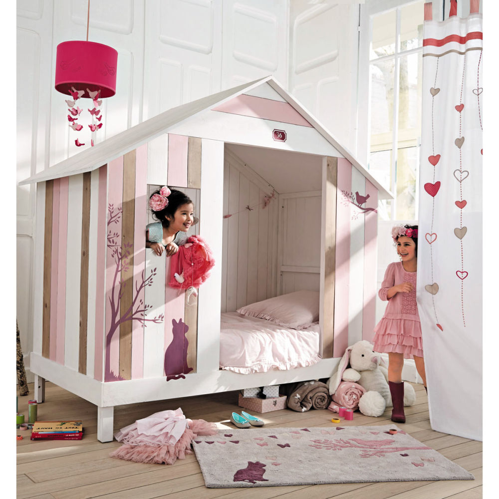 lit cabane enfant rose et blanche violette maisons du monde. Black Bedroom Furniture Sets. Home Design Ideas