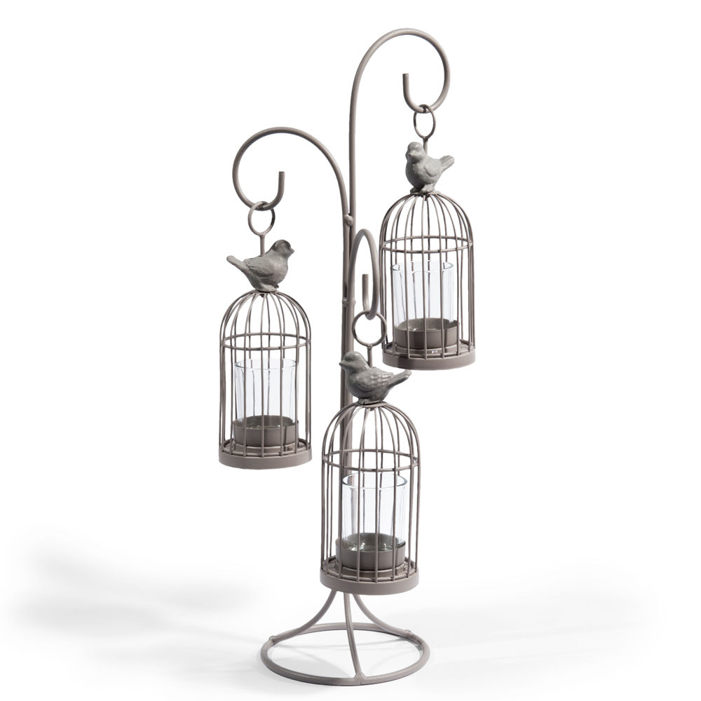 Bougeoir triple cage oiseau maisons du monde - Cage oiseau maison du monde ...
