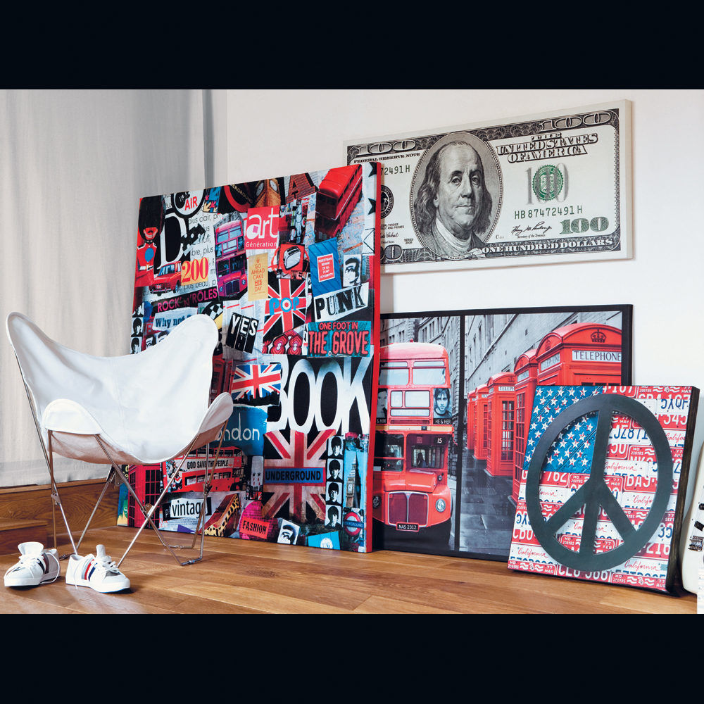 Tableau love and usa maisons du monde for Decoration murale usa