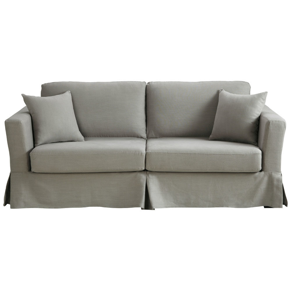 Sofa Bed In Light Grey Linen Seats 3 Royan Maisons Du Monde
