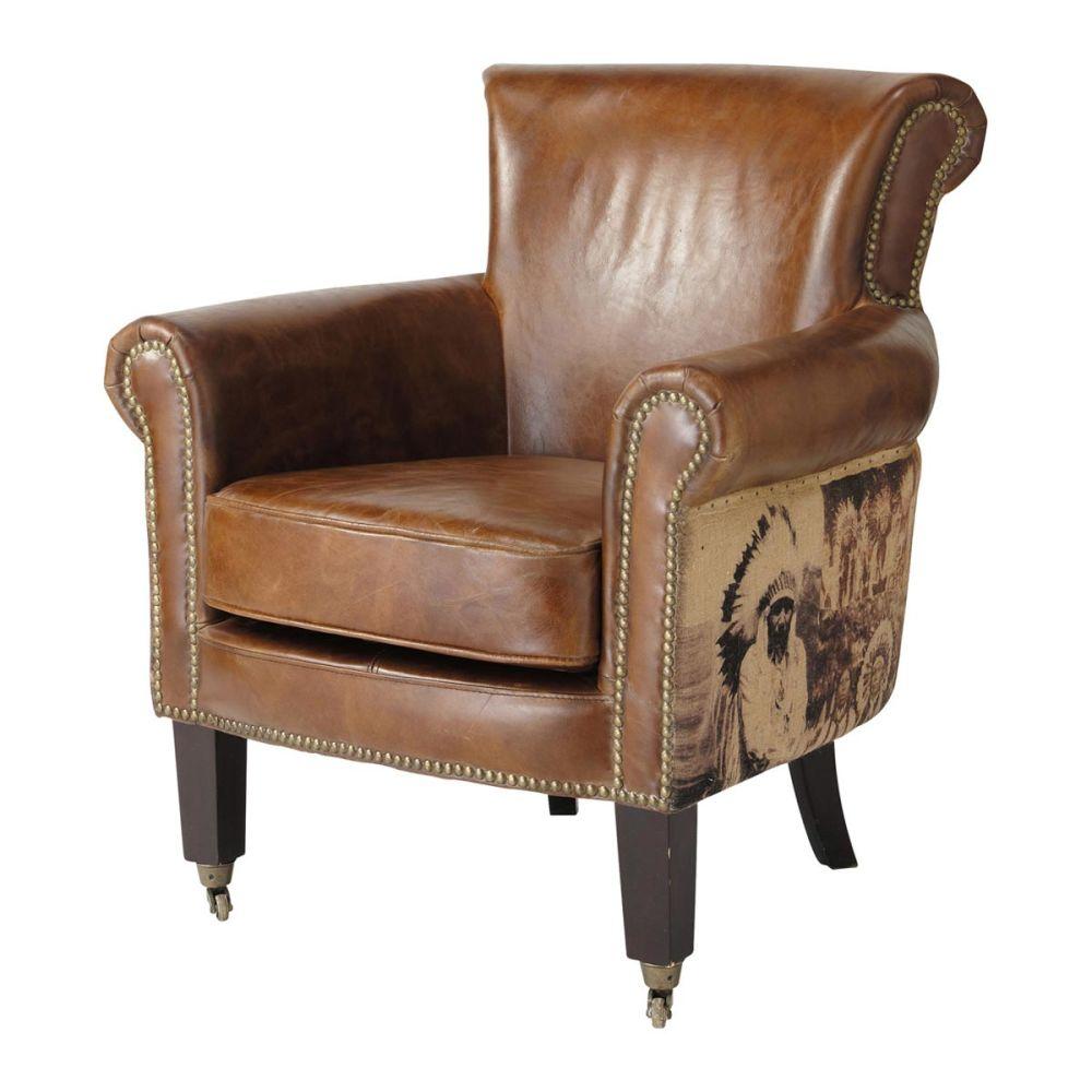 sessel vintage leder mit indianermotiv cambridge. Black Bedroom Furniture Sets. Home Design Ideas