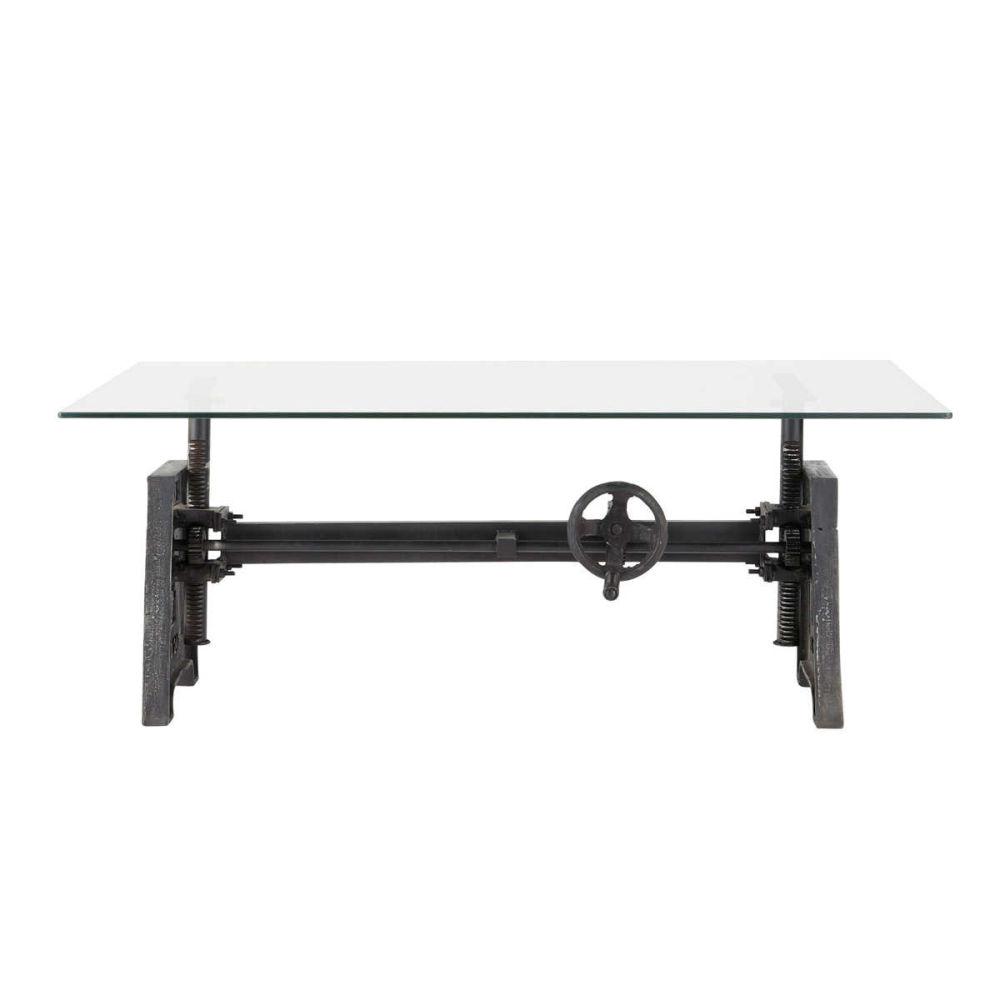 Table basse indus en verre et m tal l 135 cm garibaldi - Table basse beton maison du monde ...