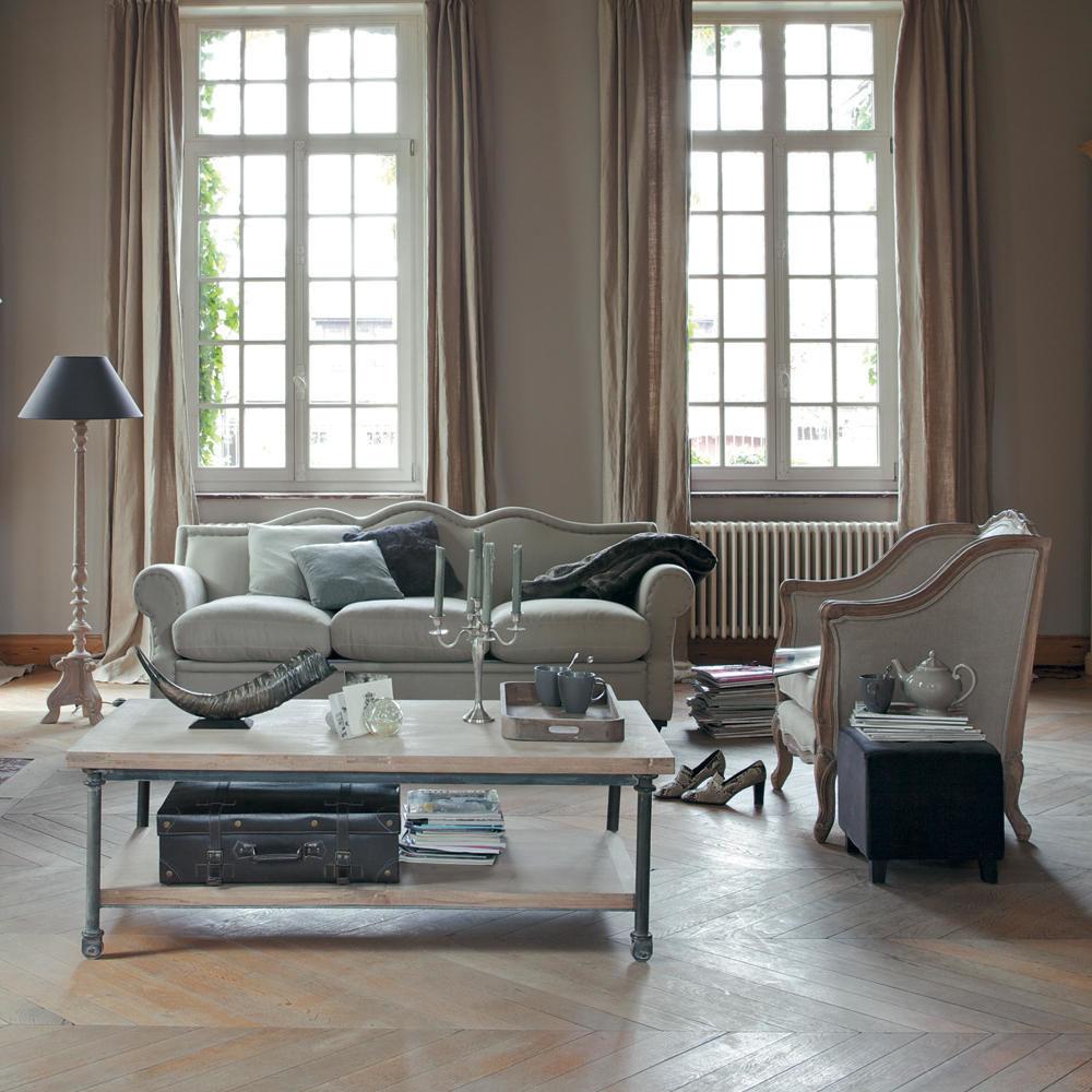 fauteuil en lin archibald maisons du monde. Black Bedroom Furniture Sets. Home Design Ideas