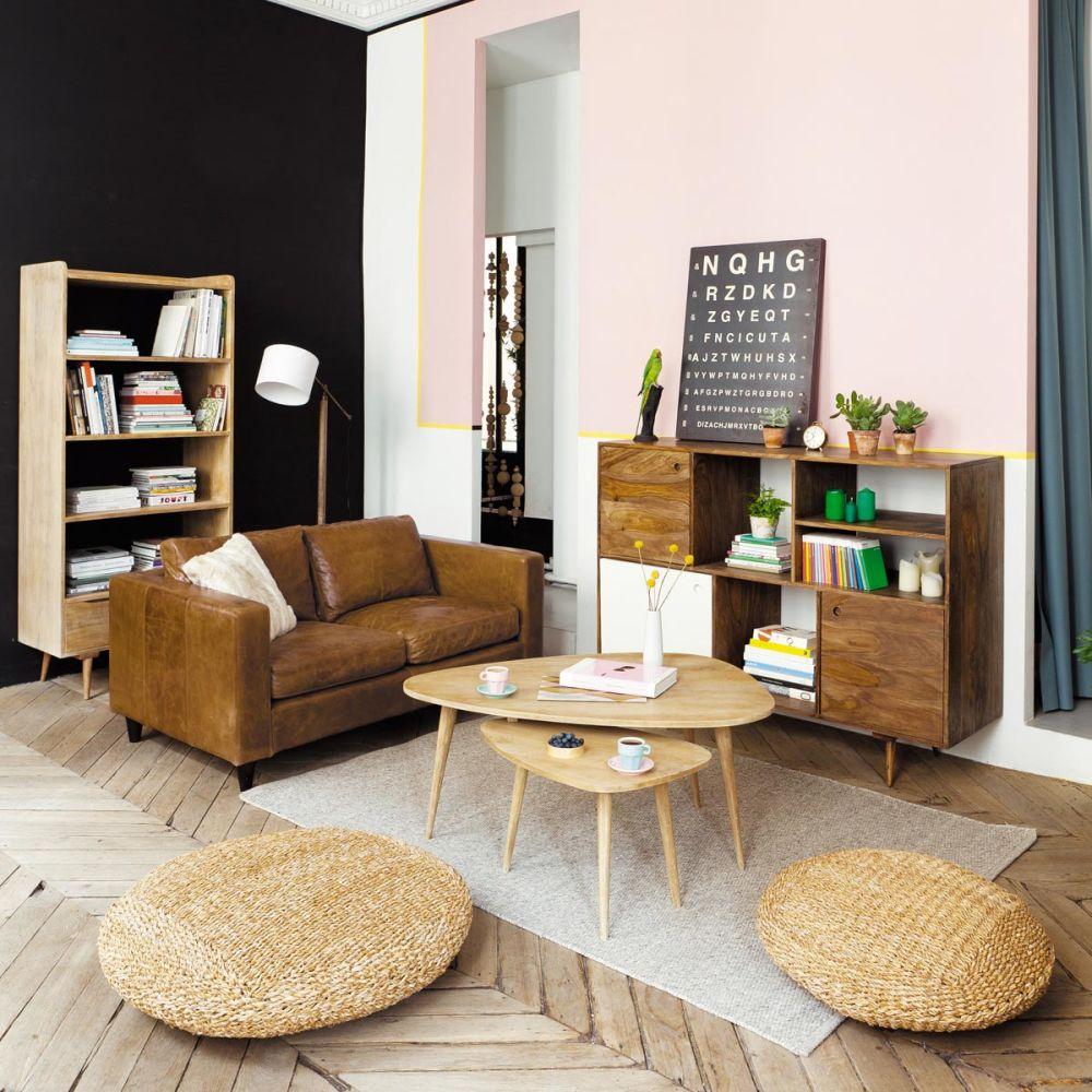 Table basse vintage en manguier massif l 62 cm trocad ro - Tabouret industriel maison du monde ...