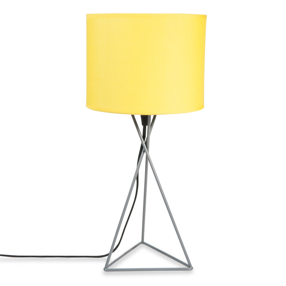 gary grey metal lamp with yellow lampshade h 43cm maisons du