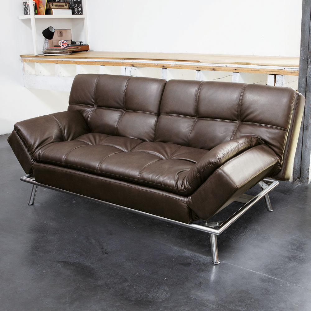 Canap convertible capitonn 3 places en polyur thane marron denver maisons - Canapes convertibles maison du monde ...