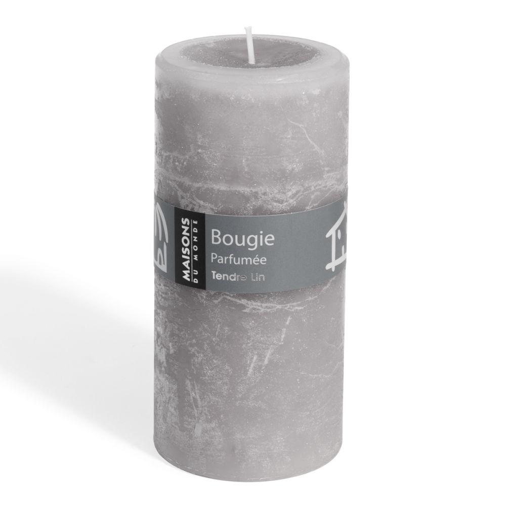 Bougie Cylindrique Grise 7x15 Maisons Du Monde