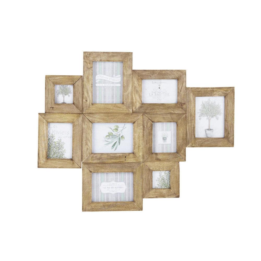 Cadre photo multivues en manguier effet vieilli 69 x 84 cm for Pele mele photo maison du monde