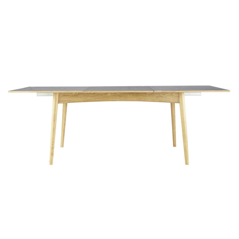 Table de salle manger en bois anthracite l 150 cm boop - Table rectangulaire a rallonge ...