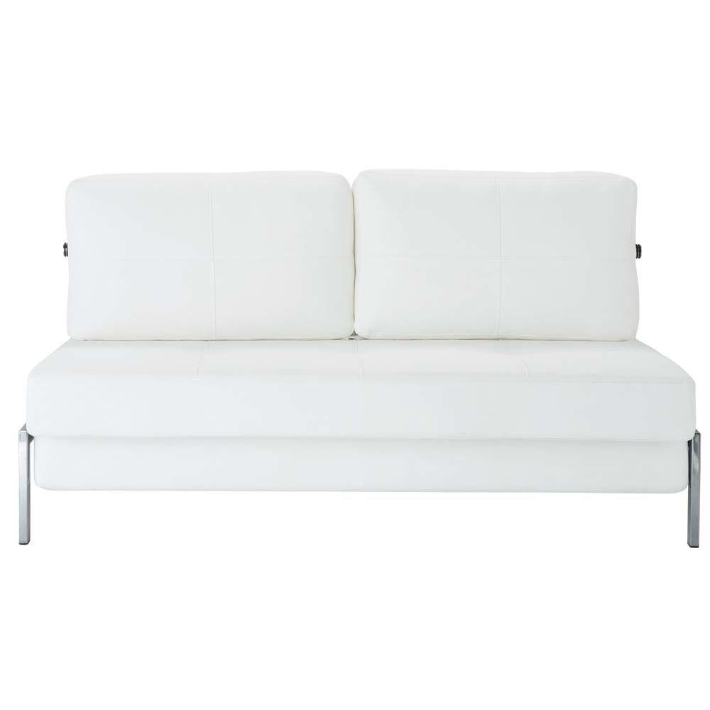 canap blanc 2 places convertible detroit maisons du monde. Black Bedroom Furniture Sets. Home Design Ideas
