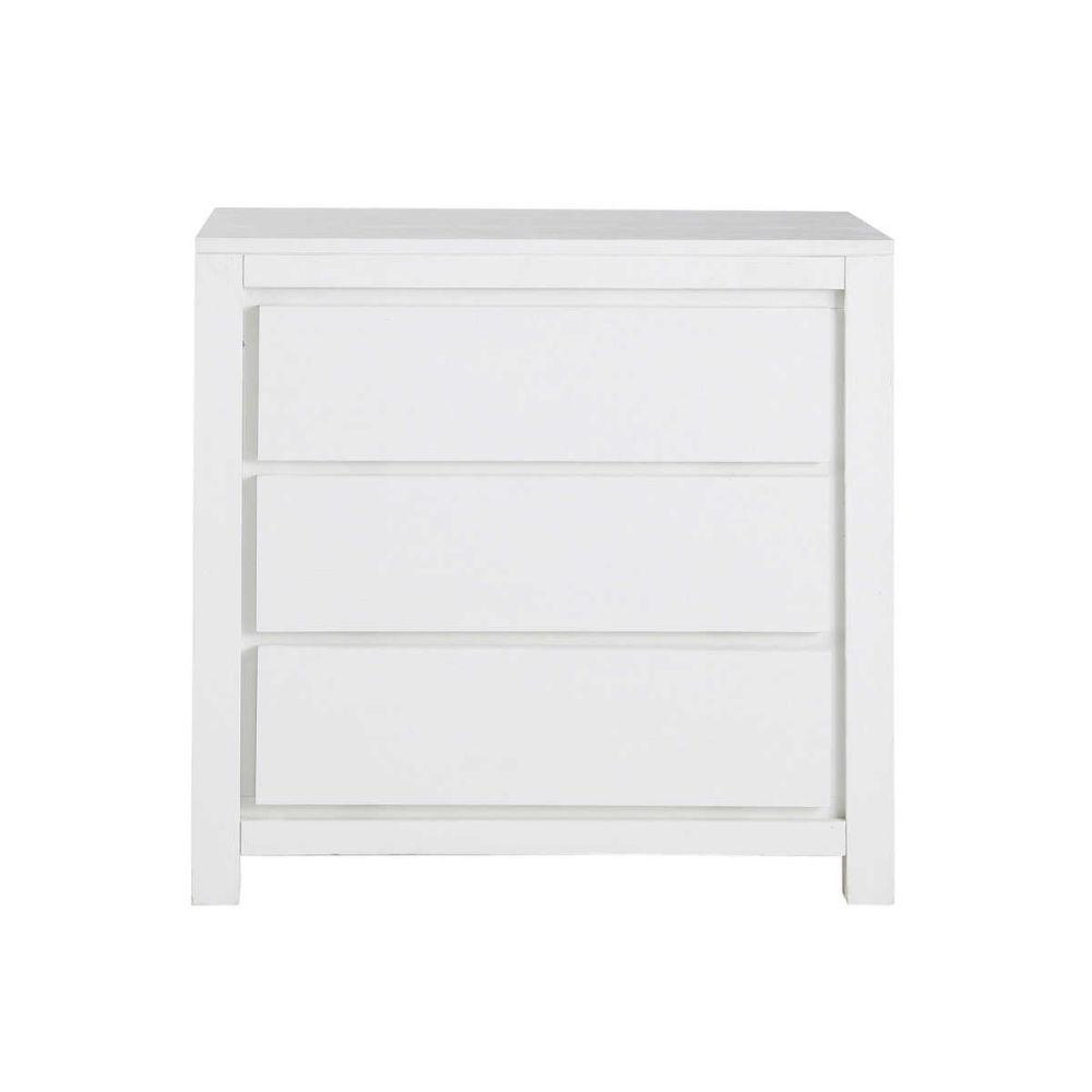 Commode en bois massif blanche l 85 cm white maisons du monde - Commode blanche 3 tiroirs ...