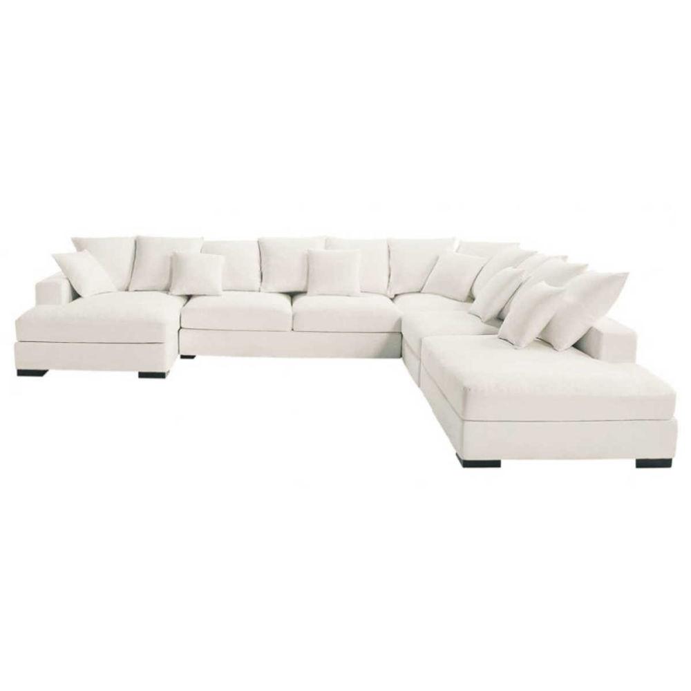 Canap d 39 angle 7 places en coton ivoire loft maisons du monde - Canape angle 7 places ...