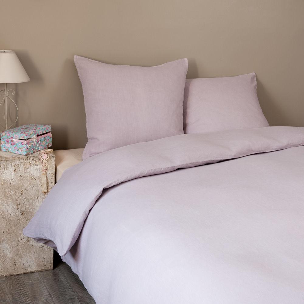 Parure lin lav lilas 240x220 maisons du monde for Linge de lit maison du monde