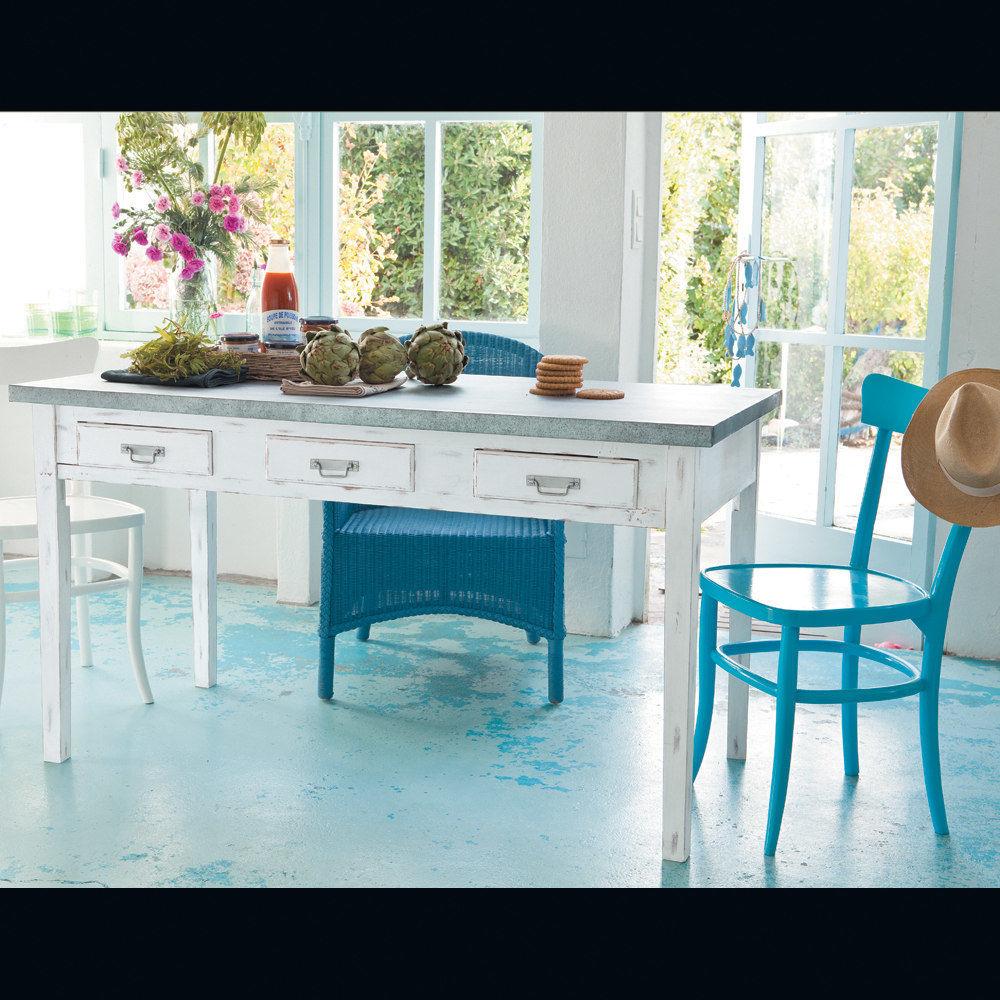 Chaise bleue bistrot maisons du monde - Chaise de cuisine style bistrot ...