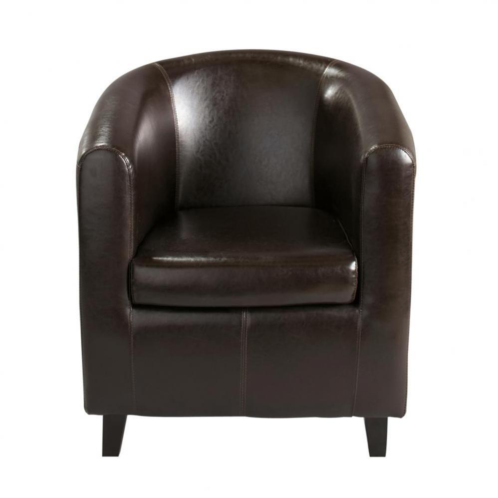 Fauteuil imitation cuir marron nantucket maisons du monde - Maison du monde fauteuil cuir ...