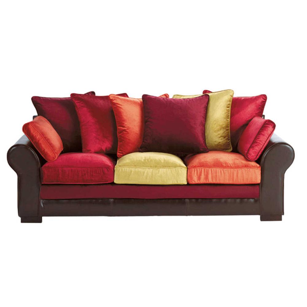 fabulous canap places en crote de cuir et velours multicolore marco polo maisons du monde with. Black Bedroom Furniture Sets. Home Design Ideas