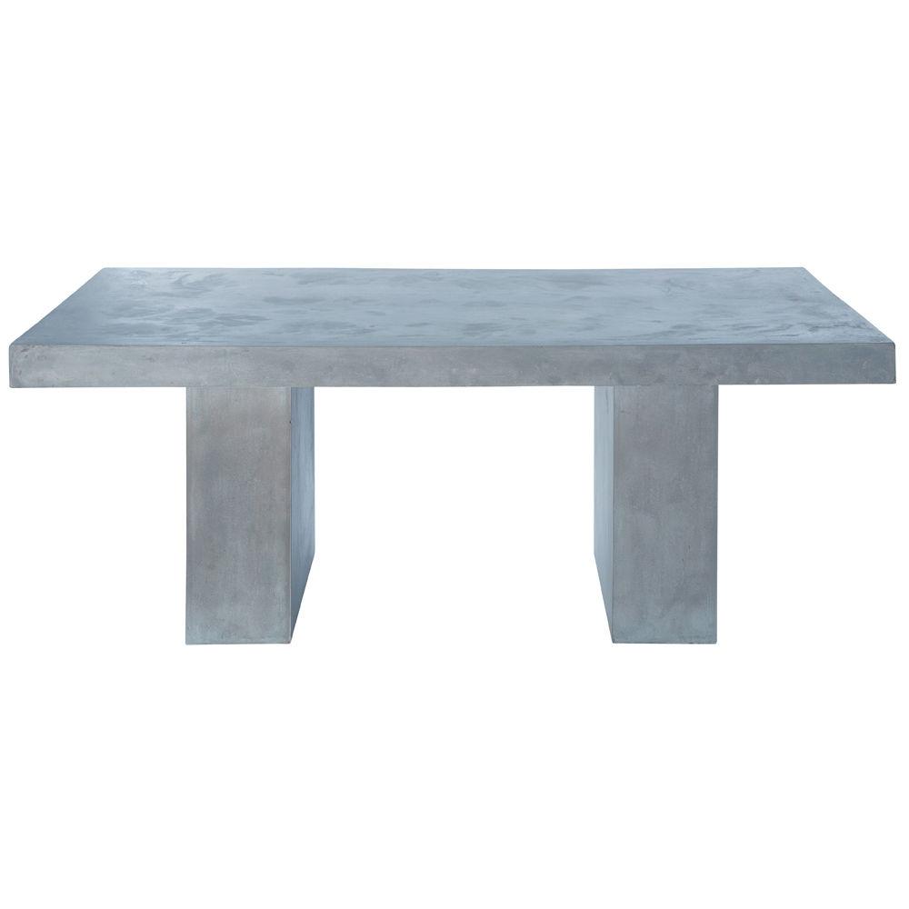 Table en magn sie effet b ton gris clair l 200 cm mineral - Table de salon en beton cire ...