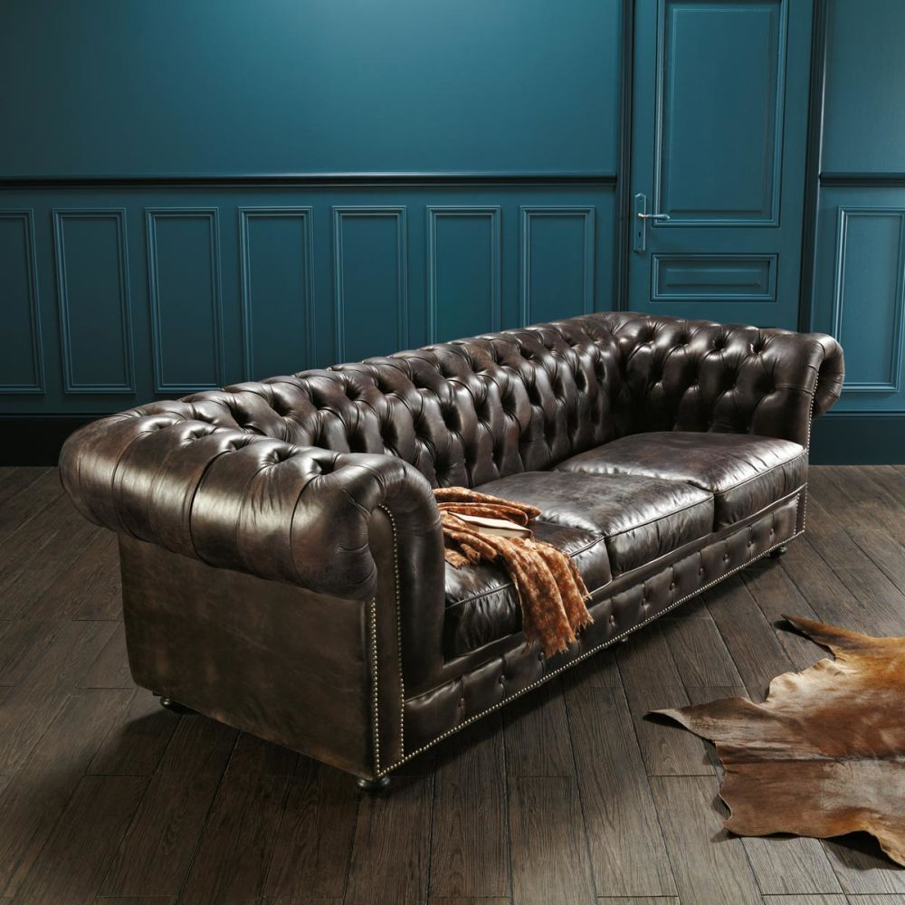 Canap capitonn chesterfield 4 places en cuir marron moka for Canape chesterfield cuir occasion