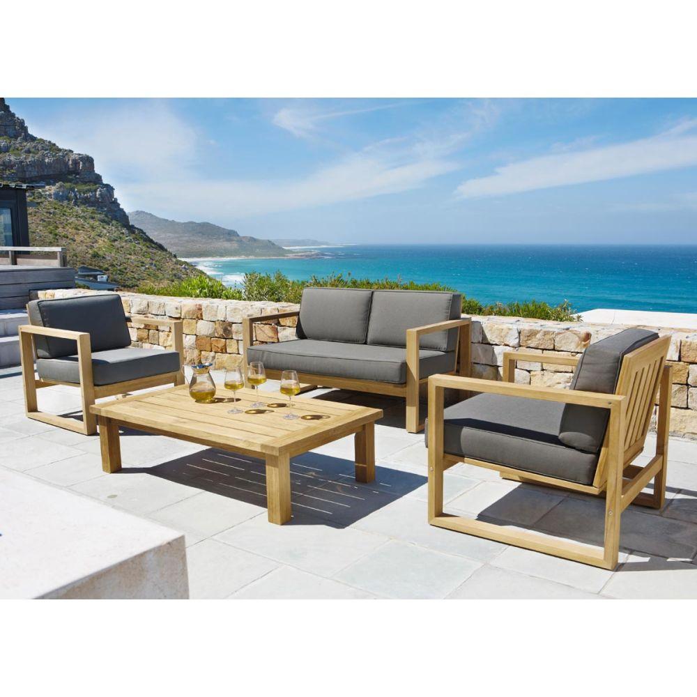 Salon bas de jardin (canap et fauteuil bas - Leroy Merlin)
