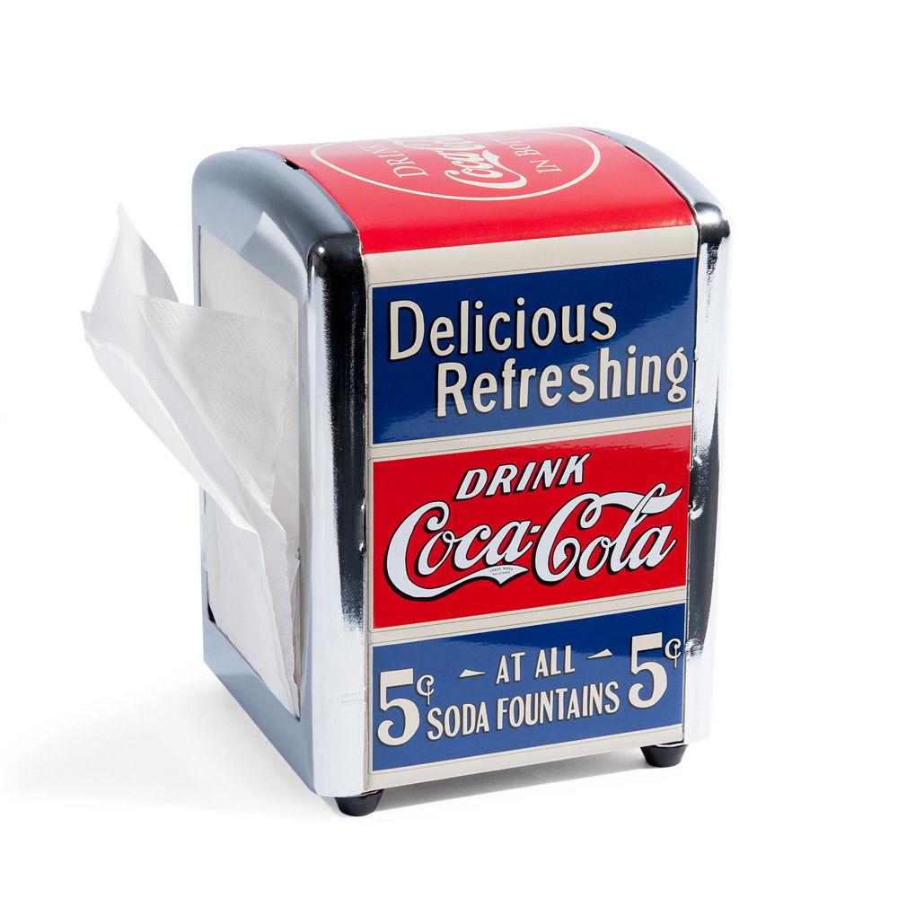 Distributeur de serviettes en métal rouge et bleu 13 x 11