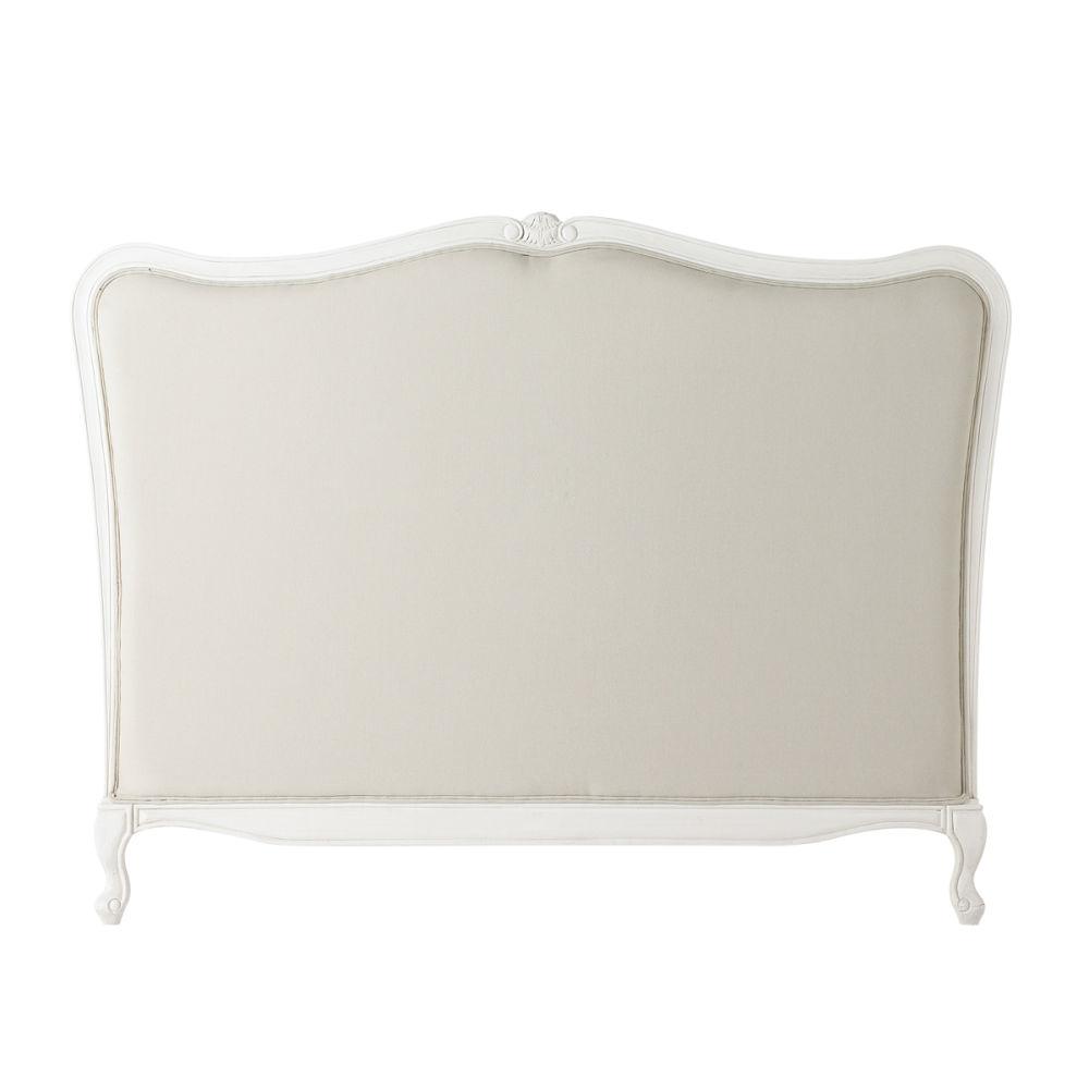 t te de lit en bois massif et coton l 155 cm jos phine. Black Bedroom Furniture Sets. Home Design Ideas