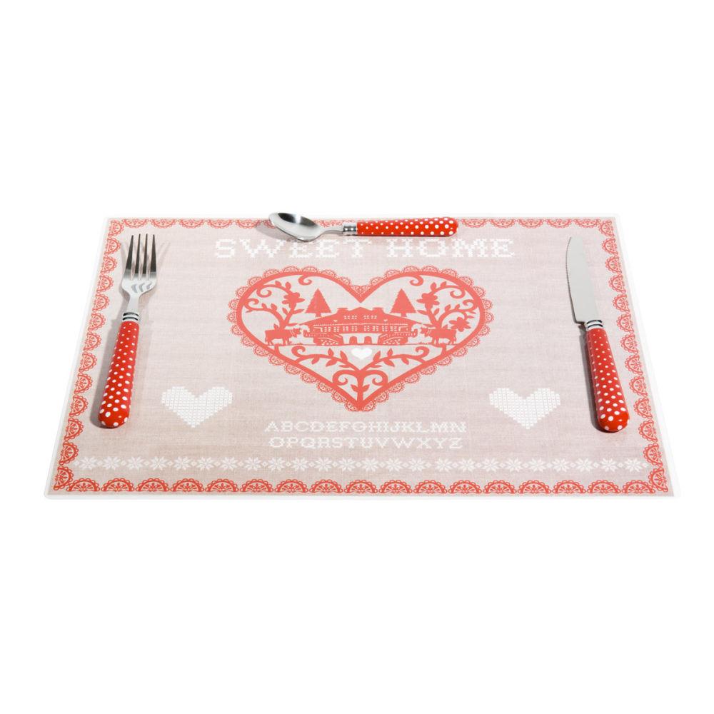 Set de table sweet home rouge maisons du monde for Set de table maison du monde