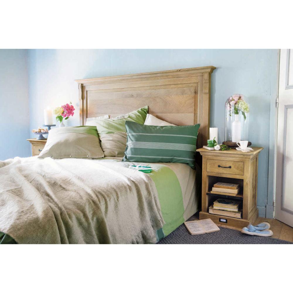 t te de lit en manguier massif l 170 cm naturaliste maisons du monde. Black Bedroom Furniture Sets. Home Design Ideas