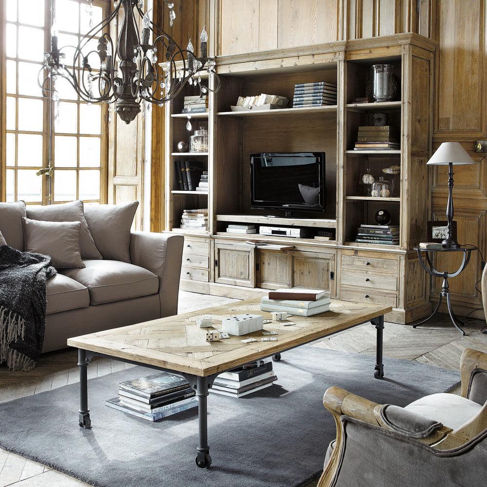 Bibliothèque TV en bois massif recyclé L 264 cm Passy ...