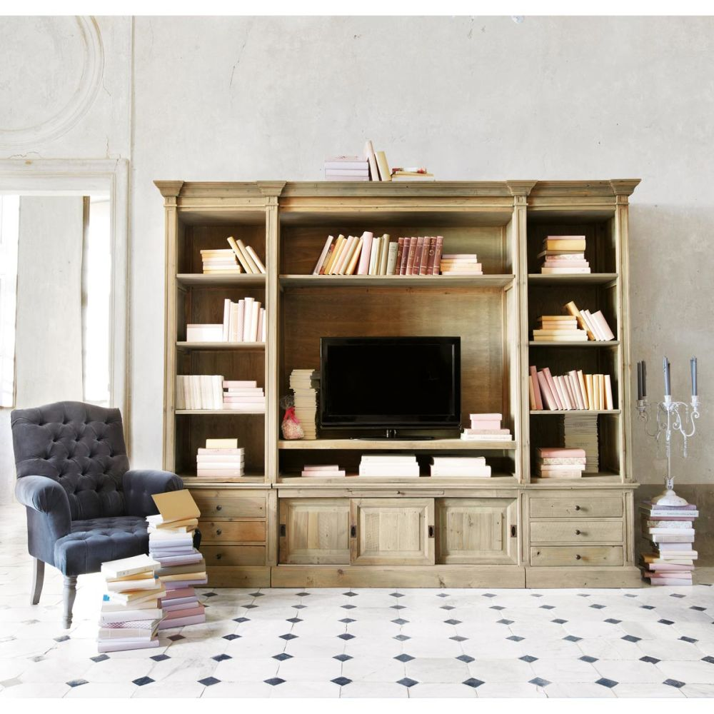 Biblioth que tv en bois massif recycl l 264 cm passy for Meuble tv bibliotheque design