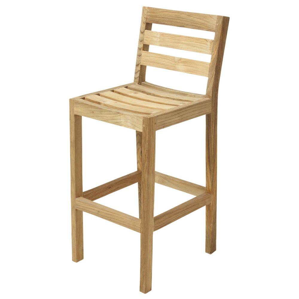 Chaise De Bar De Jardin En Teck Cadaques Maisons Du Monde