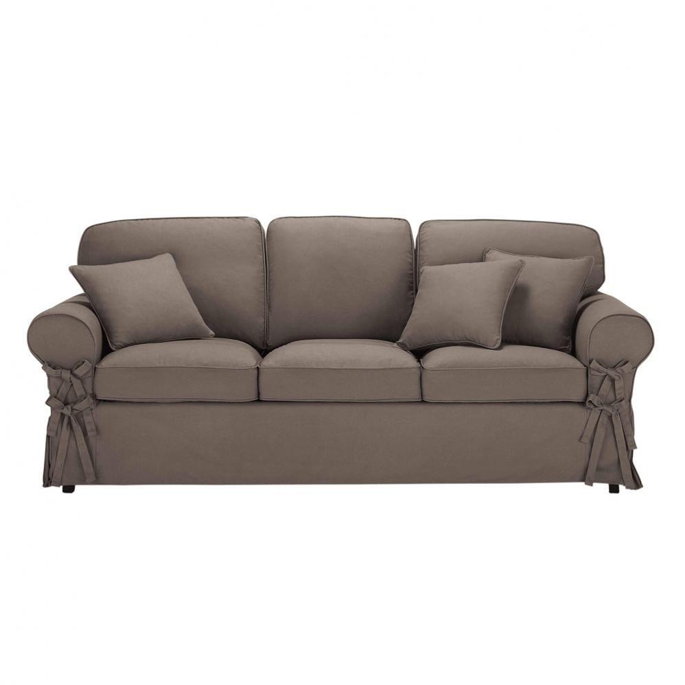 canap convertible 3 places en coton taupe butterfly maisons du monde. Black Bedroom Furniture Sets. Home Design Ideas