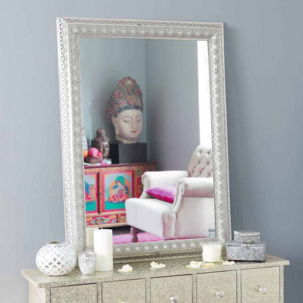 miroir en m tal argent h 95 cm istanbul maisons du monde. Black Bedroom Furniture Sets. Home Design Ideas