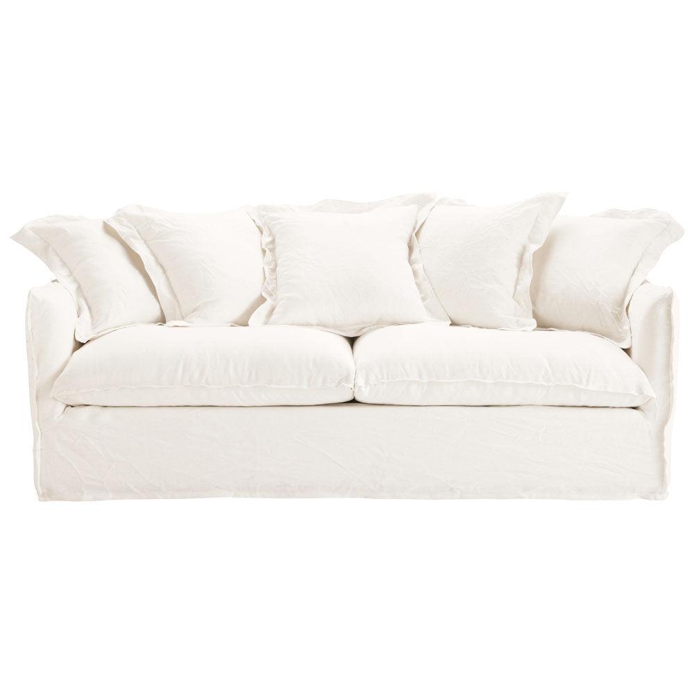 Canap 3 4 places en lin blanc barcelone maisons du monde for Canape d angle en lin