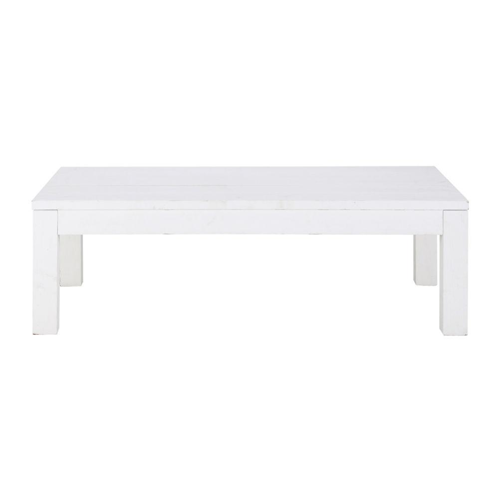 Table basse en bois massif blanche l 120 cm white maisons du monde - Table basse rectangulaire blanche ...