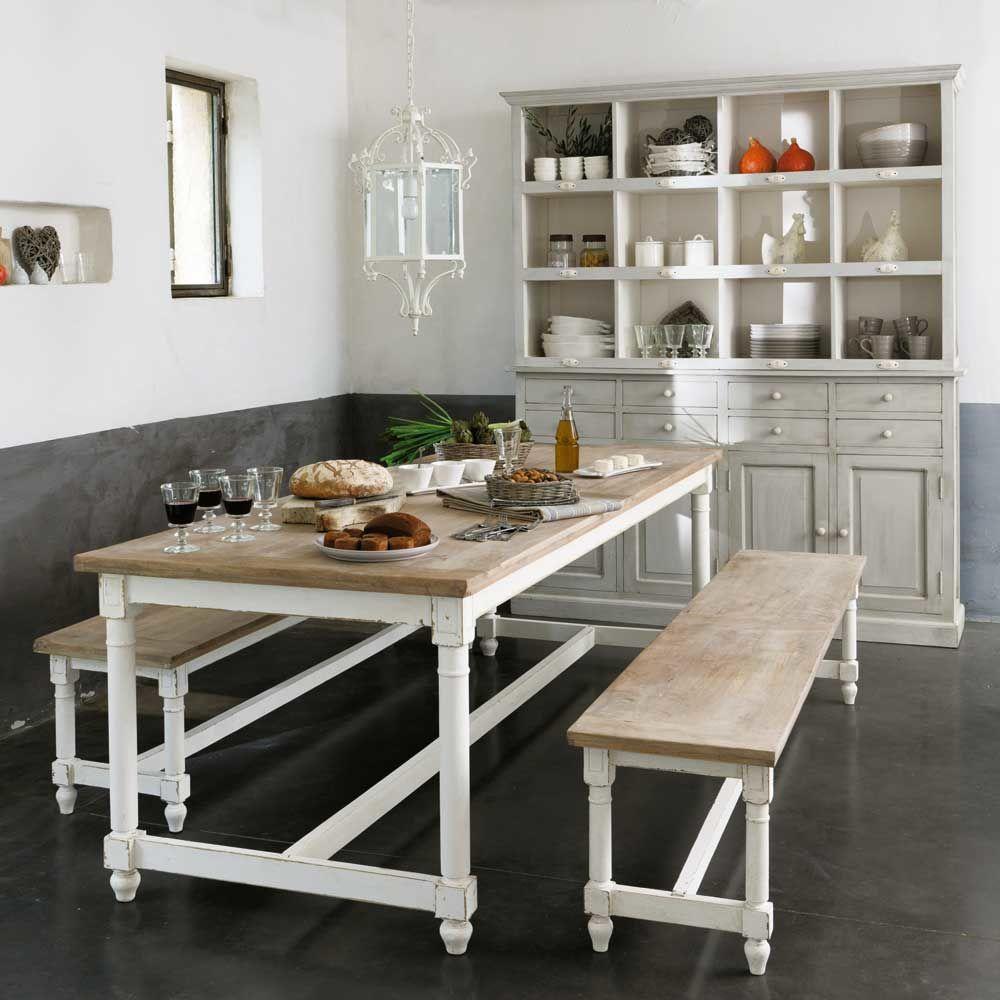 Cocina blanca mesa madera decorar tu casa es - Casas de madera blancas ...