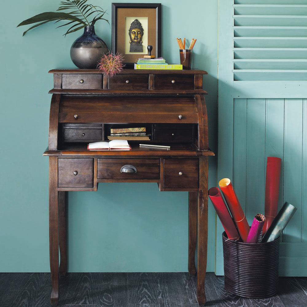 bureau secr taire en teck massif teint l 82 cm scarlett. Black Bedroom Furniture Sets. Home Design Ideas