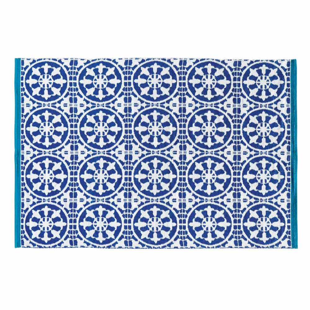 Tapis d 39 ext rieur en pvc bleu 140 x 200 cm santorini - Tapis d exterieur ...